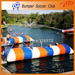 Freies Verschiffen Freie Pumpe 12x2m 0,9 mm PVC-Plane Aufblasbare Wasser Springen Kissen / Aufblasbare Wasserkatapult Blob Zum Verkauf