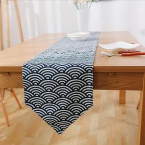 HELLOYOUNG Japón Estilo Ventilador Patrón de Lino de Algodón Corredor de Mesa Manteles Geométricos Home Restaurante Banquete Party Decor 3 Tamaño