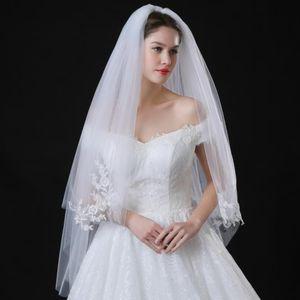 New veil wedding dress wedding wedding double veil, European and American Bride lace veil white