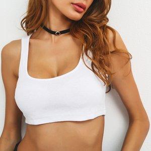 Elliehouse 2018 ummer Slim Render Short Top Donna senza maniche U Croptops Canotte Solid Black / White Crop Tops Vest Tube Top