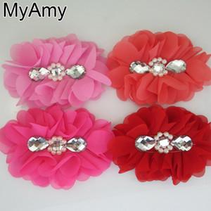 Accessori per capelli per ragazze Copricapo Myamy 20 pezzi / lotto 5 5.2 Fiori di chiffon ballerina grande con perla e strass al centro