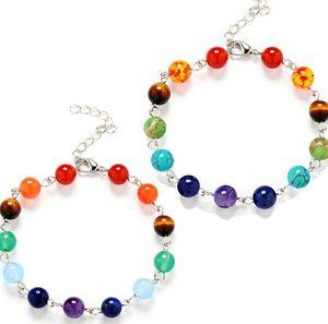 Yoga 7 Chakra Balance de guérison Bracelet en pierre naturelle Bracelets de bracelet Puissance Puissance Bijoux Inspirationaux Pour Femmes Enfants 2 Couleurs