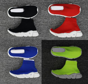 Kids Sneakers Running Shoes Luxury Paris Speed Trainers Youth Boys Girls Fashion Stretch Mesh High Top Knit Sock Running Shoes Size25-39