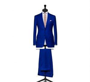 신착 Groommen 노치 옷깃 신랑 턱시도 Blue Men Suits 웨딩 / 댄스 맨 남성용 블레이저 / 신랑 (Jacket + Pants + Tie) M452