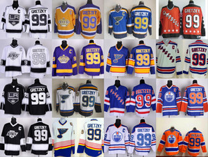 Los Angeles Kings # 99 Wayne Gretzky Hockey Maillots St. Louis Blues LA Kings de Los Angeles Vintage Bleu Blanc Noir Orange Jaune