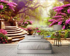 Custom Photo 3D Wallpaper Mural Pared Sticky Garden Tree Landscape 3D Fondo Pared papel de parede
