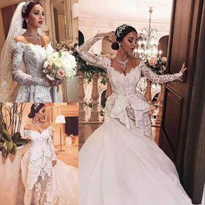 Glamorous Zuhair Murad Mermaid Abito da sposa con gonna oversize in rilievo Applique in pizzo off spalla Tulle Abito da sposa Sexy Illusion Abito da sposa