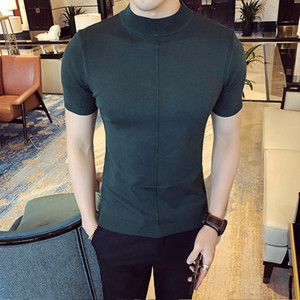 2018 Spring Self-cultivation casual Sweater pullover men Half Sleeved Rendering Unlined Upper Garment male turtleneck