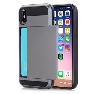 Personnaliser Faites glisser la carte de crédit fente Porte téléphone pour iPhone XS Max XR 7 6 8 Plus X Boîtier double armure en silicone Coque