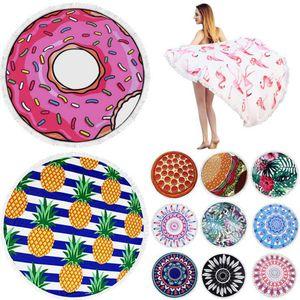 Asciugamano da spiaggia rotondo in microfibra con nappe 150 * 150cm Asciugamani da bagno stampati estate Piscina Plage stuoie di yoga Sunbath 39 stili 5 pezzi OOA4198