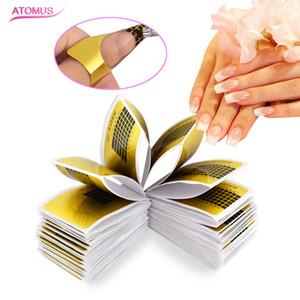 100 pçs / pacotes nail art extensão adesivo polonês gel dicas de ouro u forma francês dicas guia nail art formulário manicure styling ferramentas