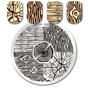NASCIDOS Molde consideravelmente Stamping Batom Rodada unhas Nail Polish Art Anel de árvore grão de madeira placa placas Manicure Estampagem