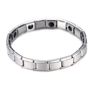 Pulsera magnética de la salud plateada de la moda para las mujeres de la mejor calidad del imán de acero inoxidable pulseras del brazalete de la cadena de enlace de la joyería al por mayor