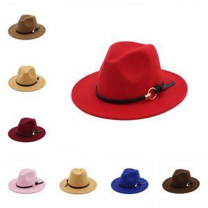 Женщины Зимний Шерстяной Пояс Fedora Cap Широкие Поля Ковбойская Шляпа Панама Hat Trilby Cap Ремень Пряжки Шляпы 150 шт. OOA4062