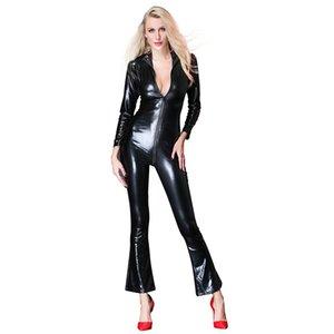 Mujeres Sexy Faux Leather Rompers Jumpsuit con cuello en V de manga larga con cremallera Bodycon buzos para mujer 2018 Pvc Leotardo Bodysuits
