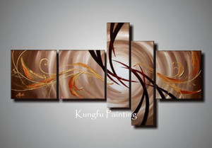 100% hand painted unframed abstract 5 panel canvas art living room wall decor painting modern sets com5439