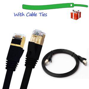 CAT-7 10 Gigabit Ethernet Ultra Düz Patch Kablo Modem Router LAN Network Korumalı RJ45 Konnektörler ile Dahili 1 / 1.8 / 3 / 5M