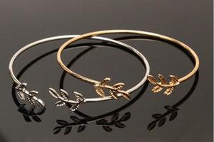 braccialetto a foglia foglie aperte braccialetto moda braccialetto hot braccialetto braccialetto di oliva bangle bracciale braccialetti 2 colori