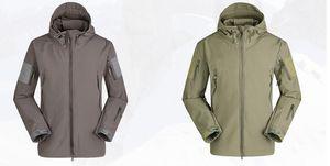 Mens Shark Skin Outdoor Active Hooded Jacket Women Solid Color Waterproof Windproof Sportswear Coat Lovers Camouflage Mountaineering Jacket