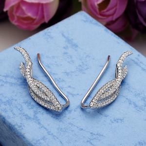 Bella Moda 925 Ayar Gümüş Yaprak Süpürme Kulak Manşet Wrap Paletli Vine Kübik Zirkon Gelin Küpe Düğün Parti Takı Için