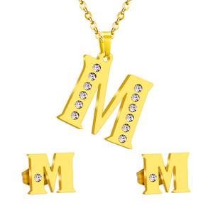 Set di gioielli in oro con lettera iniziale in acciaio inox vintage M orecchini in oro con cristallo stile classico