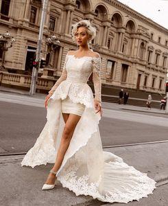 Fora do ombro rendas vestidos de casamento mangas de alta baixo verão praia vestidos de casamento bainha saia desgaste do casamento nupcial abiti da sposa