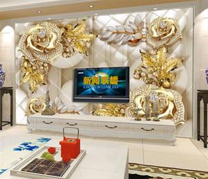 럭셔리 벽 거 대 한 벽 벽지 3D 벽 벽화 골드 보석 꽃 TV 배경 장식용 벽지 wallcovering