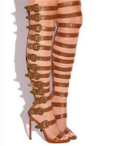Kadınlar Seksi Açık Toe Tokaları Sapanlar Ince Topuk Diz Üzerinde Gladyatör Boots Cut-out Uzun Yüksek Topuk Sandal Boots Elbise Ayakkabı