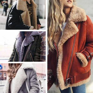 Süet Deri Kuzu Kürk Ceket Kadınlar 2018 Moda Sıcak Yün Teddy Motosiklet Ceket Bayanlar Kış Faux Kürk Artı Boyutu Ceket Palto