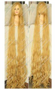 Blonde Enredados Rapunzel 100cm 150cm 200 cm de largo ondulado rizado del partido de Cosplay peluca de pelo