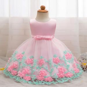 Aini Babe Baby Girl Dress Little Princess Vestiti Fiore Beautiful Battesimo Baby Battesimo Primo compleanno Abiti 2 anni