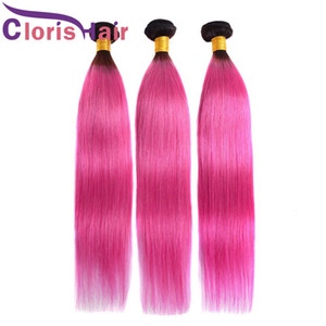 1b Pink Omre Human Hair Bundles Twe Tone Peruano Virgin Hair Extensiones Dark Roots Pink Sedky Straight Ombre Weaves Tejidos 3pcs Ofertas
