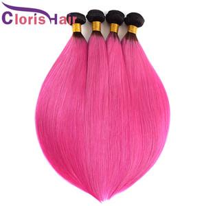Raizes escuras Rosa da Malásia Virgin Ombre Hair Extensions Two Tone 1B-de-rosa de seda reta Ombre Weaves Colored Pink Rose Cabelo Humano 3 Pacotes