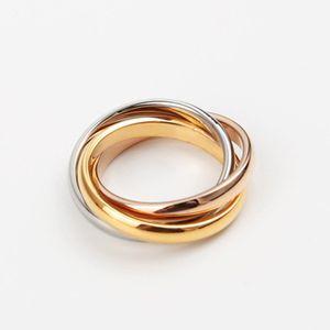 de acero de calidad superior 316L titanio famoso de la marca de tres anillos de conexión de los anillos de bodas para las mujeres y los hombres libres del anillo del envío PS5415