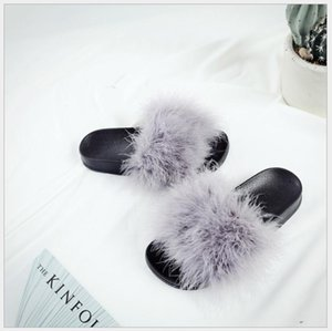 2018 Spring Summer New Fashion Outer Flat Trendy Plush Slippers Feather Sandals