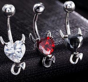 1 pezzo acciaio inossidabile 316l granato cuore zircone cristallo diavolo anello ombelico piercing all'ombelico nombril ombligo monili del corpo 14g