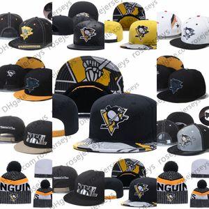 Pingüinos de Pittsburgh hockey sobre hielo de punto Gorros bordado ajustable del sombrero del Snapback bordada blanco amarillo negro cosido sombreros One Size