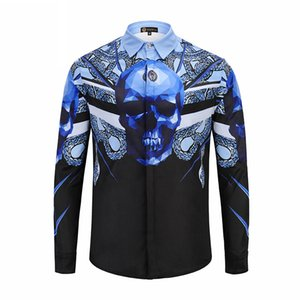 2019 New Style Hot Sale Fashion 100% Cotton Spring Autumn Men's Blue Lining Printed Men's Long-sleeved Men's Casual Shirts Size M-2XL