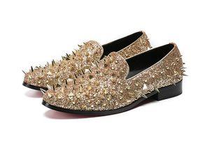Männer Luxus Designer British Gold Punk Rock verziert Rivet Oxfords Schuhe 2019 Homecoming männlichen Hochzeit Abschlussball formelle Kleidung Schuhe plus Größe 7-12