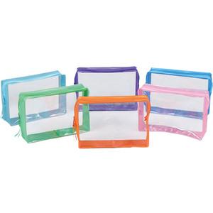 Función multi portable del recorrido del maquillaje de PVC claro bolsa de la cremallera cosméticos bolsa de almacenamiento Organizador impermeable transparente Higiene Lavar las Bolsas