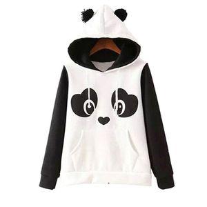 Sevimli Pamuk Karışımlı kadın Panda Tarzı Polar Kazak Hoodie O-Boyun Tişörtü Kapşonlu Coat Sıcak Toptan Tops