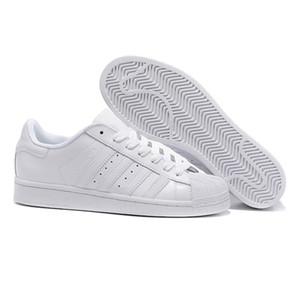 2019 erkek Ayakkabı bayan Ayakkabıları Için Beyaz Ayakkabı Lazer Dazzle Renk Süperstar Kabuk Kafa rahat ayakkabılar Ücretsiz Kargo