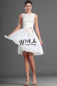 2018 длиной до колен платье невесты Скромное белое шифоновое платье невесты