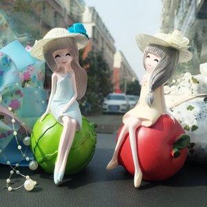 Decoración del coche de la muñeca de la historieta encantadora creativa de la fruta chica muñeca de resina de Apple limón Sandía muchacha de la fresa muñecas 48PCS
