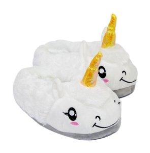 Pantofole unicorno peluche antiscivolo tenere in caldo carino animale pecore pantofola cartone animato pavimento al coperto scarpe regalo di natale