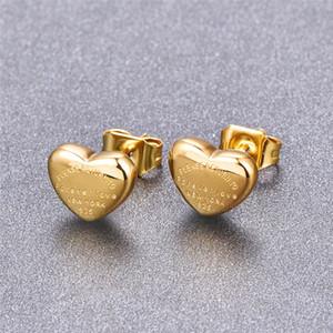 Pendientes del estudio del corazón del color del oro del oro de la rosa del titanio, el amor Forever Steel Stud Pendientes, buen regalo