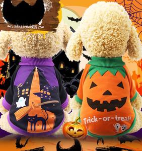 Chien Costumes d'Halloween Petits Chiots Traiter ou Trick Drôle Manteau Citrouille Veste Sorcière Hoodies XS Garçon Pull 2018 Noir Vendredi
