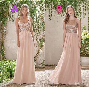 2021 Sparkly or rose pailletée demoiselle d'honneur robes longues en mousseline de soie Halter Une ligne bretelles Ruffles perle rose demoiselle d'honneur de mariage Guest Dresses