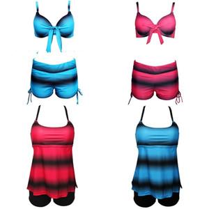 Bikini de mujer Tankini Swimsuit Lady Shorts Swimwear Femme Color de degradado más trajes de dos piezas con Chest Pad 24js V
