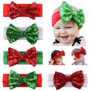 Noel Kız bebekler Sequins ilmek Kafa Çocuk Hairbow Bantlar Bebek Çocuk hairbands Çocuk Saç Aksesuarı 5 Renk 14323